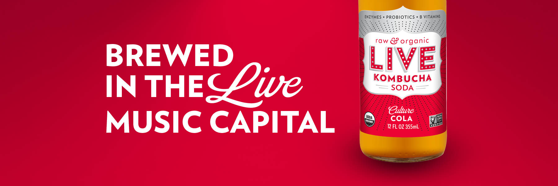 Culture Cola Live Soda Kombucha is brewed in the live music capital of the world